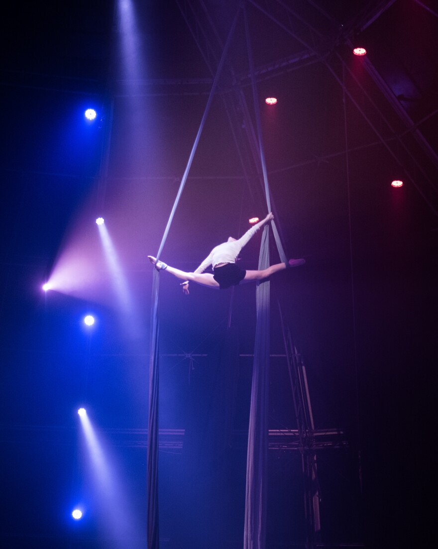 Sabine Van Rensburg, the daughter of Zip Zap's founder, Brent Van Rensburg, performs aerial silk acrobatics act during a show in Cape Town, South Africa. She now tours with the Canada-based Seven Fingers circus but returned as a visiting performer.
