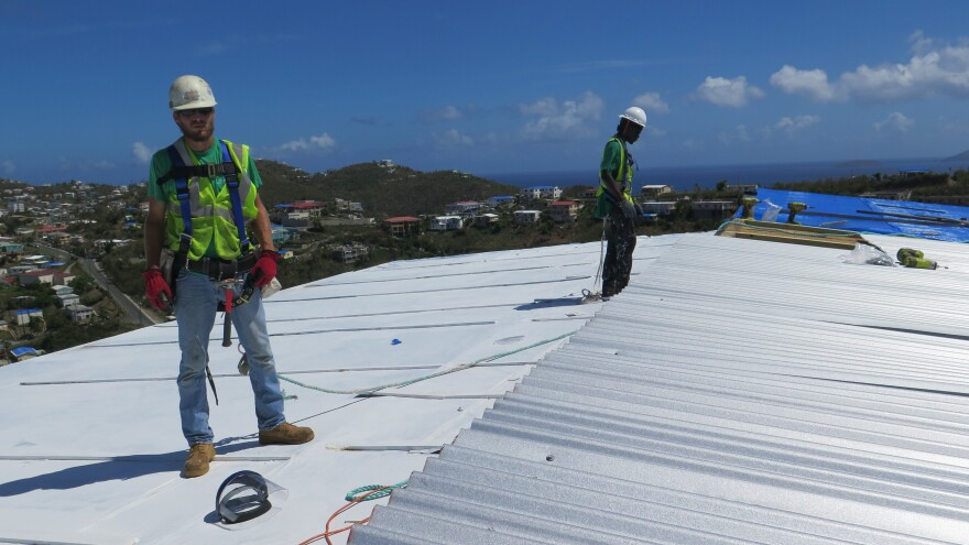 A crew working with FEMA's Emergency Home Repair program. It wasn't until March, six months after the hurricanes hit, that FEMA launched this program on St Thomas.