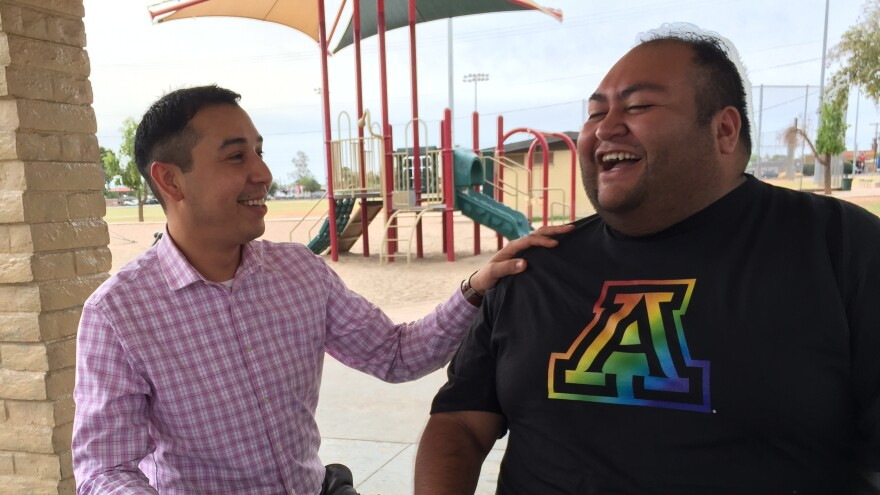 Democratic lawmakers Tony Navarrete (left) and Daniel Hernandez are founding members of Arizona state Legislature's first LGBT caucus, which formed earlier this year. Both believe the growing acceptance of LGBTQ people on the local level will translate into a broader shift statewide.