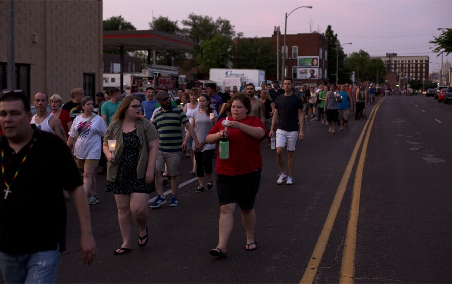 Hundreds march on June 12, 2016, along South Vandeventer Avenue.