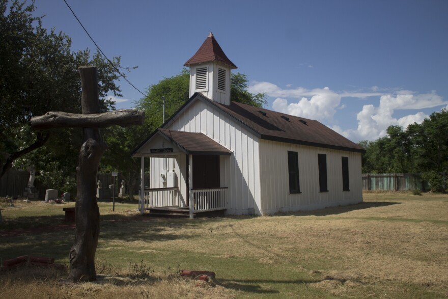 The historic Jackson Ranch Church in the Rio Grande Valley is nearby border wall construction.