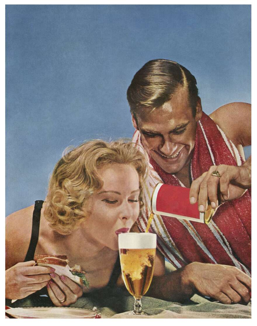 """<em>You don't have to try so hard!, 1958.</em> Artist Hank Willis Thomas and NPR's Linda Wertheimer used this """"unbranded"""" ad from 1958 — with a man mischievously smiling as a woman laps up beer — as an example of the growing sexualization of women in ads from the late '50s."""