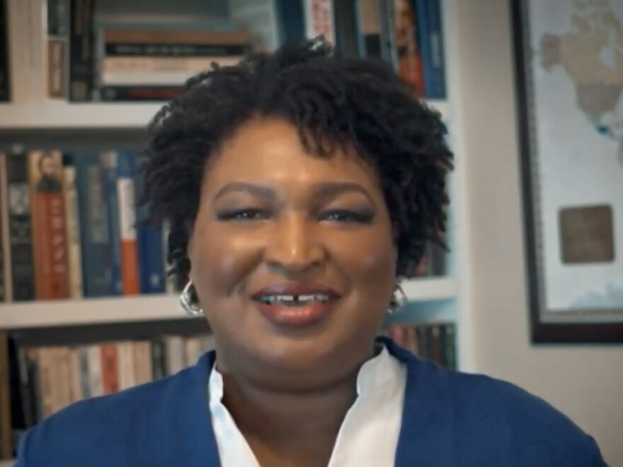 """""""We should not live in a nation where your access to democracy depends on your celebrity, your wealth, or your ZIP code,"""" says Stacey Abrams. Above, the former Georgia gubernatorial candidate addresses the virtual Democratic National Convention on Aug. 18."""