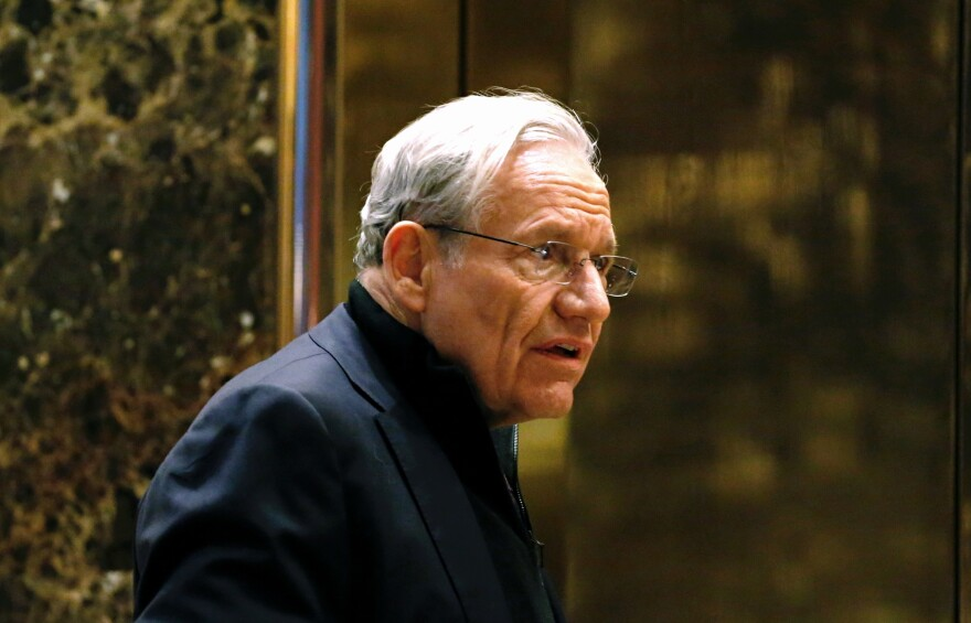 Journalist Bob Woodward, seen here in 2017 arriving for meetings with President-elect Donald Trump at Trump Tower in New York, is the author of the newly released book <em>Rage</em>.
