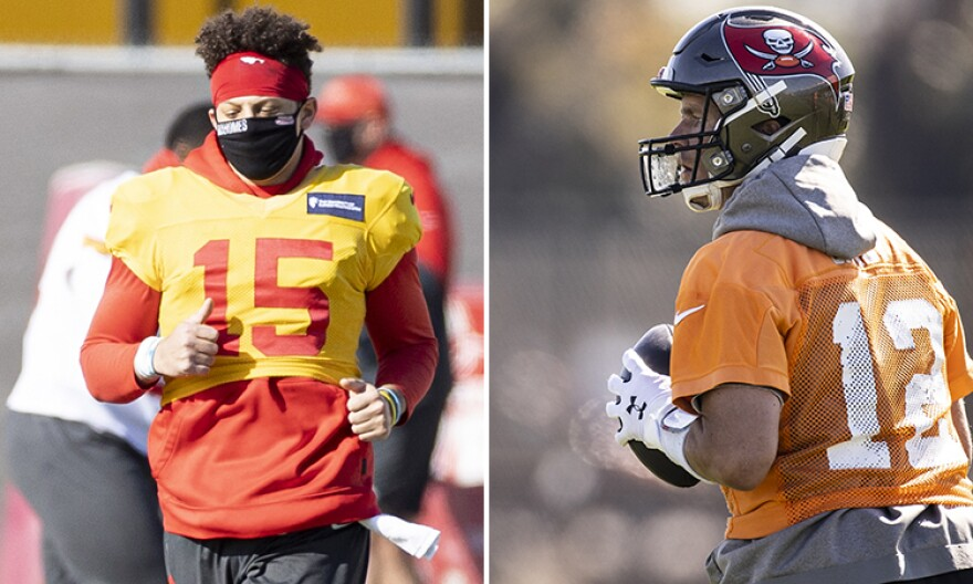 Patrick Mahomes, left, and Tom Brady during workouts