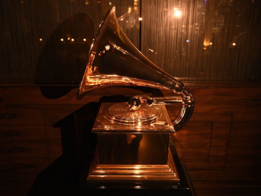 A Grammy Award on display at a Recording Academy event in New York City in 2018.