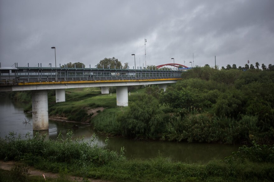 The Rio Grande River as seen from Brownsville, Texas as it passes under the Gateway International Bridge between the border cities of Brownsville and Matamoros, Mexico.