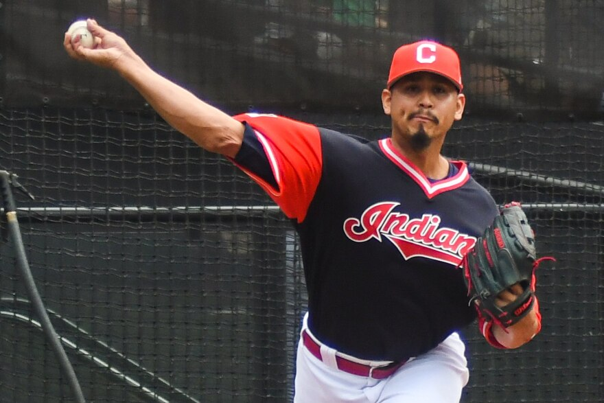 a photo of Carlos Carrasco pitching