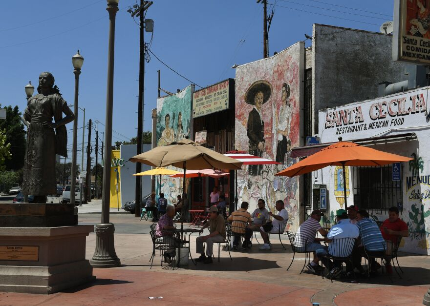 """A recently renovated Mariachi Plaza is pictured in Boyle Heights, Calif., is a Hispanic and low-income neighborhood of Los Angeles that's fighting hard to prevent gentrification, the threat of escalating rents and """"washed out"""" identity."""