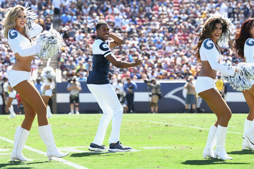 Los Angeles Rams Cheerleader Quinton Peron performs during halftime on Sept. 23, 2018.