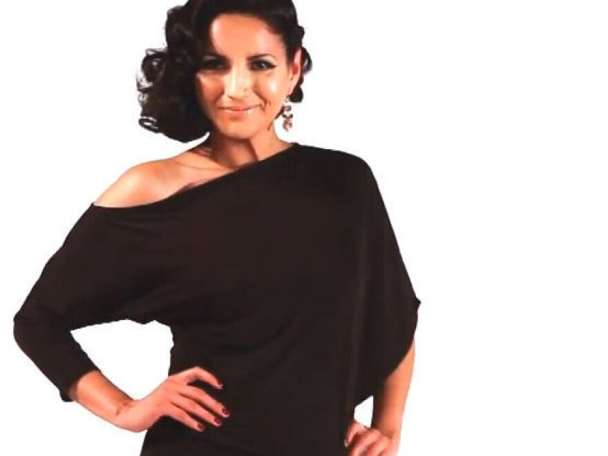 """Designer Ximena Valero <a href=""""http://www.youtube.com/user/XIMENAVALERO"""">uses</a> YouTube to get the word out on her signature transformable fashion, modeled here by Cindy Vela. She says joining the Latino lifestyle network Mitu will only help increase her exposure."""