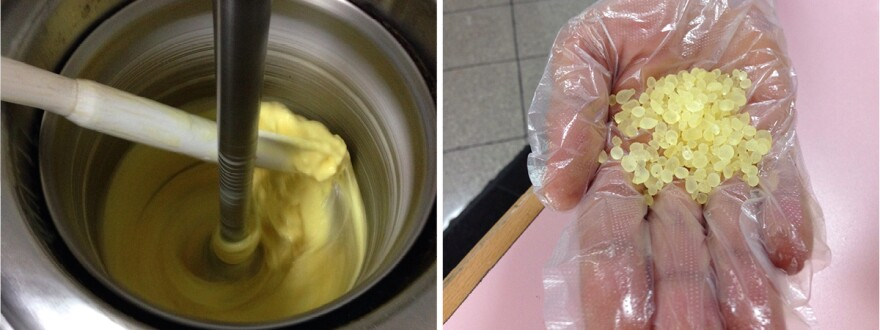Left: In the Baladna factory, workers use long-handled paddles to pack down lemon ice cream whirling in a gelato machine. The combination of traditional and modern techniques saves time while also preserving the chewy texture, Baladna staffers say. Right: Baladna's Imad Mimseeh uses pellets of mastic (dried tree sap) in his ice cream. He won't reveal all the ingredients that make it stretchy.