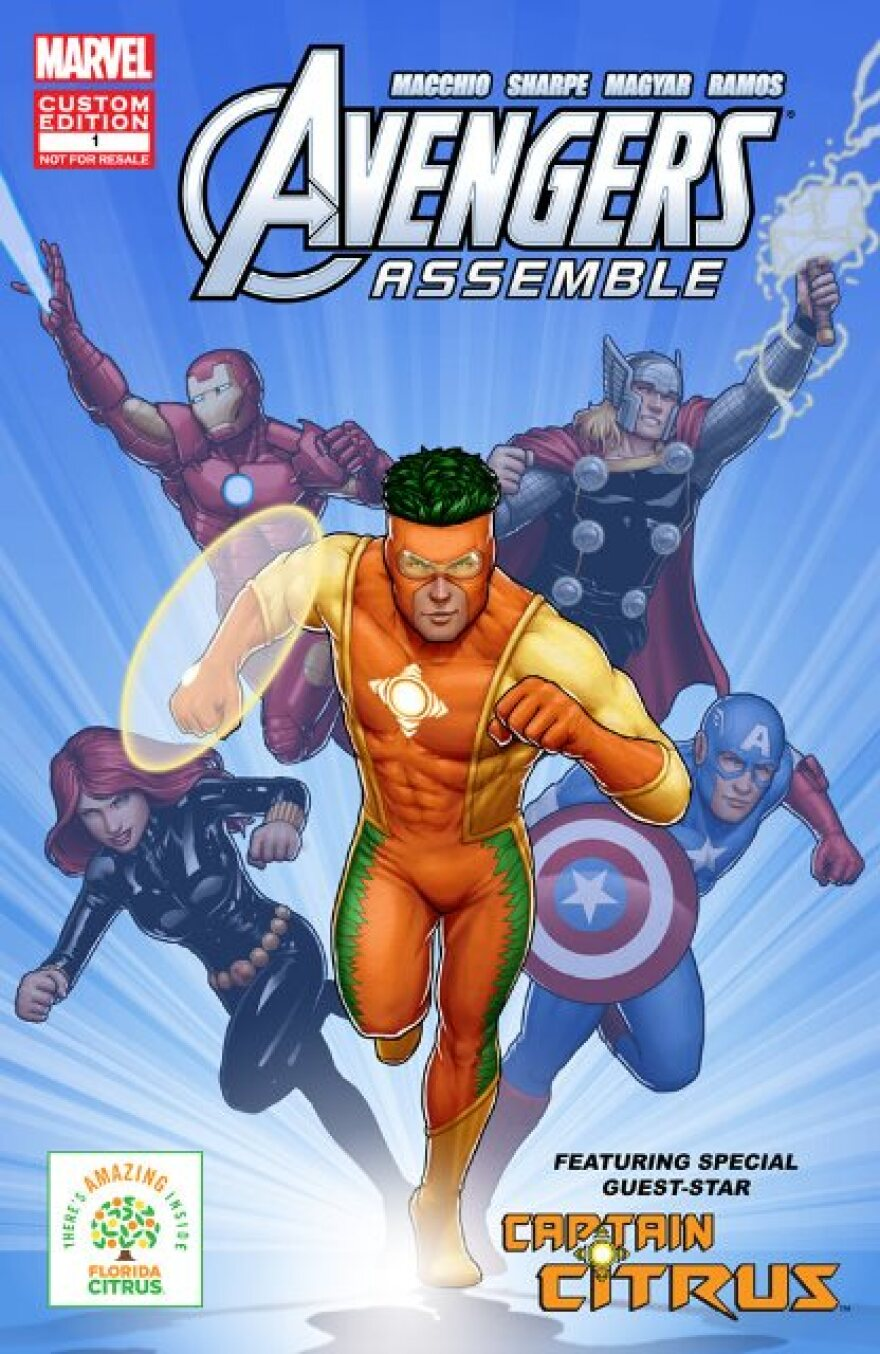The redesigned Captain Citrus, the mascot of the Florida Department of Citrus, will appear in a series of Marvel Comics with superheroes, the Avengers,