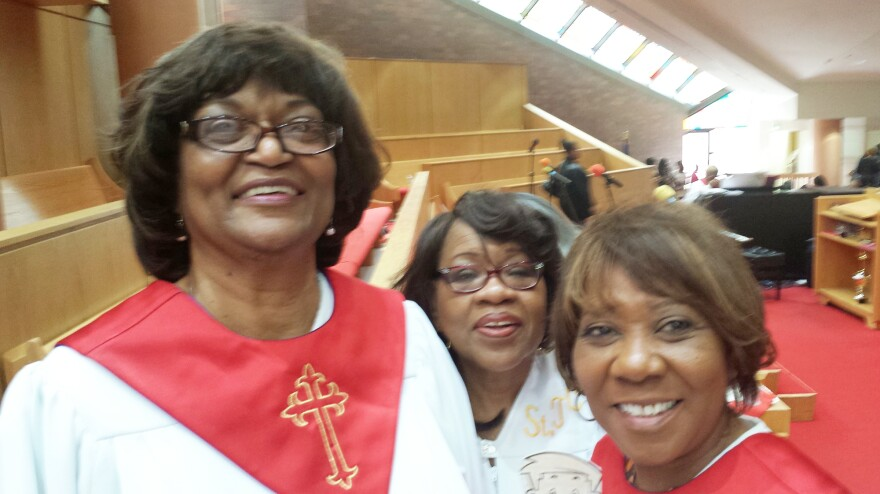 "Williams (left) loved music and her choir community at St. Timothy Community Church in Gary, Ind., along with fellow members Myrtle Campbell (center) and Carol Blakley. On the day of Williams' funeral, music echoed through the large, near-empty sanctuary. But the traditional comfort of shoulder-to-shoulder parishioners, and a shared ""repast"" for hundreds couldn't happen."