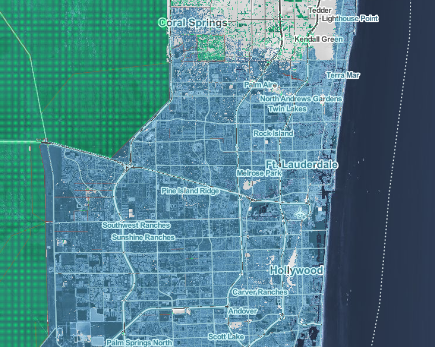 """A map from the non-profit news and science organization Climate Central shows how the greater Fort Lauderdale area could be impacted if rising seas reach NOAA's """"extreme"""" projection of more than 8 feet by 2100. You can recreate the analysis for other areas at https://riskfinder.climatecentral.org/."""