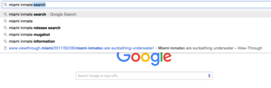 Google search predictions for 'Miami inmate'