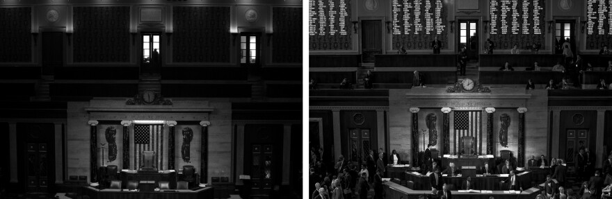 The end of the 114th United States Congress (left) and the start of the 115th United States Congress (right).