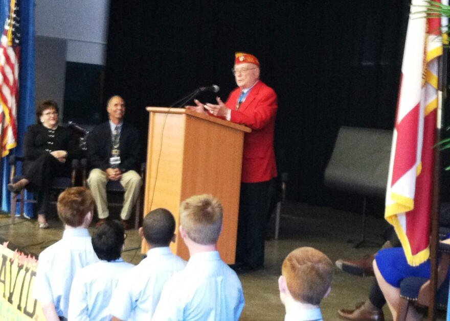 """Marine Corporal Hershel """"Woody"""" Williams addressing the students at Franklin BPA."""