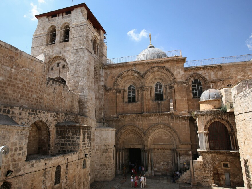 Jerusalem's Church of the Holy Sepulchre, also known as the Basilica of the Resurrection, is home to the Edicule shrine encasing the ancient cave where, according to Roman Catholic and Orthodox Christian belief, Jesus' body was entombed and resurrected.