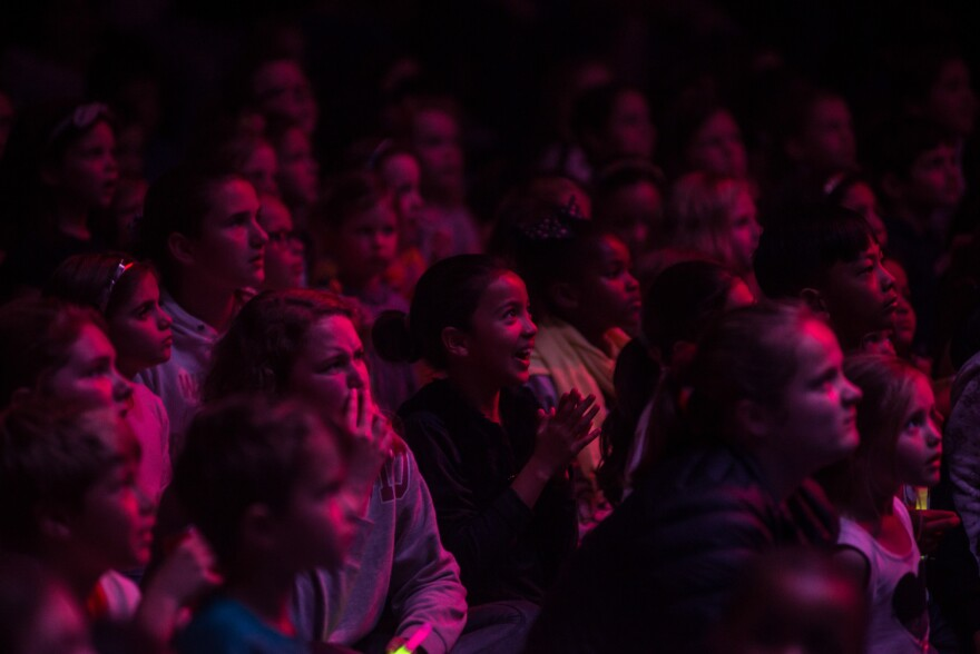 The audience reacts during a Zip Zap circus show in Cape Town, South Africa.