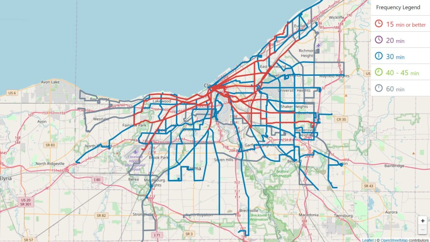image of proposed new route map for Cleveland RTA
