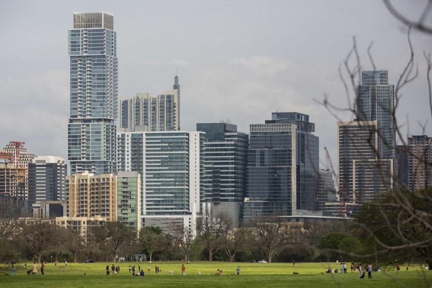 The Austin skyline from Zilker Park as seen on March 16.