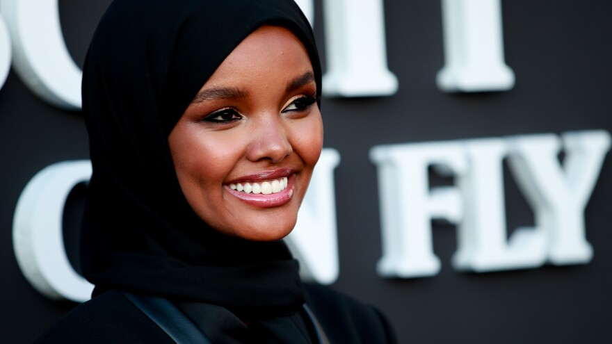 Halima Aden attends the premiere of Netflix's <em>Travis Scott: Look Mom I Can Fly</em> at Barker Hangar on Aug. 27, 2019, in Santa Monica, Calif.