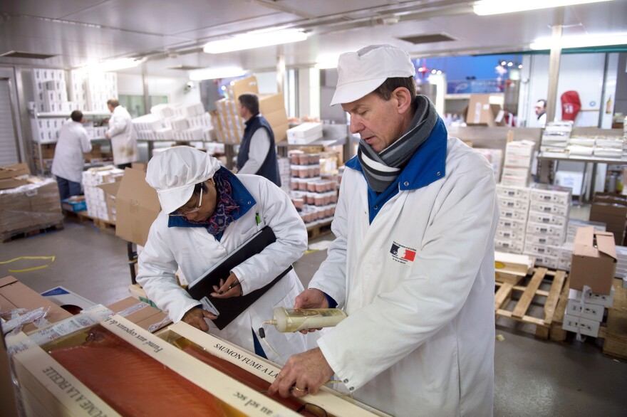 Food fraud is a common issue all over the world. Inspectors of veterinary services and fraud inspect seafood products at the Rungis international market, located near Paris.