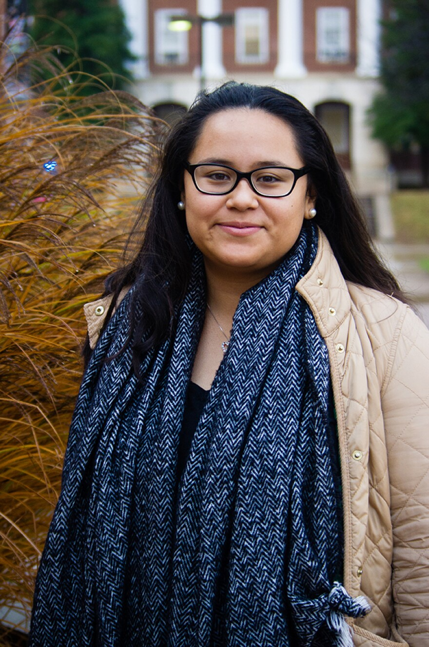 Alejandra Gonzalez poses for a portrait on the campus of the University of Maryland.