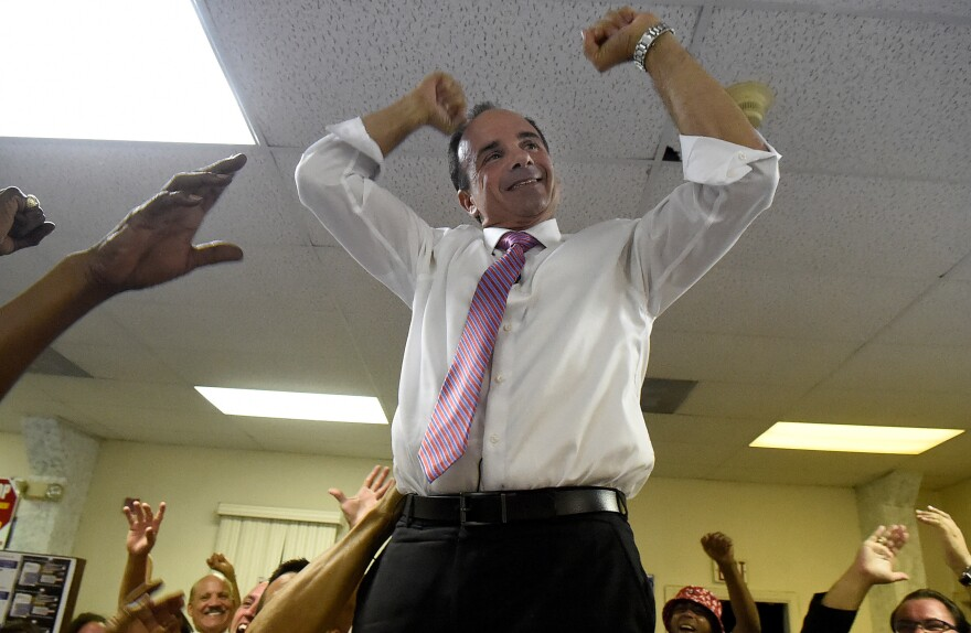 Former Bridgeport Mayor Joseph Ganim celebrates a close primary win, in his bid to retake the office that he held when he was charged with multiple counts of corruption.