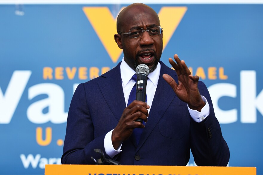 Rev. Raphael Warnock, seen here speaking at his Labor Canvass Launch on January 05, 2021,will become Georgia's first Black senator.