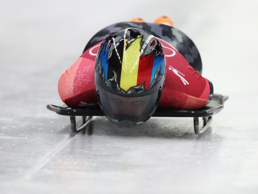 PYEONGCHANG - Kim Meylemans of Belgium slides during the Women's Skeleton. (Sean M. Haffey/Getty Images)