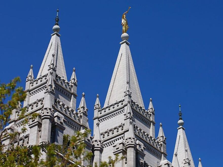 The spires of the historic Salt Lake Temple in downtown Salt Lake City.