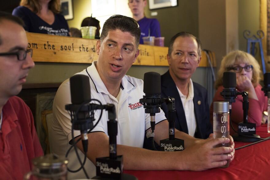 Sens. Bill Eigel, R-Weldon Spring, and Bob Onder, R-Lake Saint Louis, talk with St. Louis Public Radio's Jason Rosenbaum and Jo Mannies at Picasso's coffeehouse in St. Charles. June 21, 2017