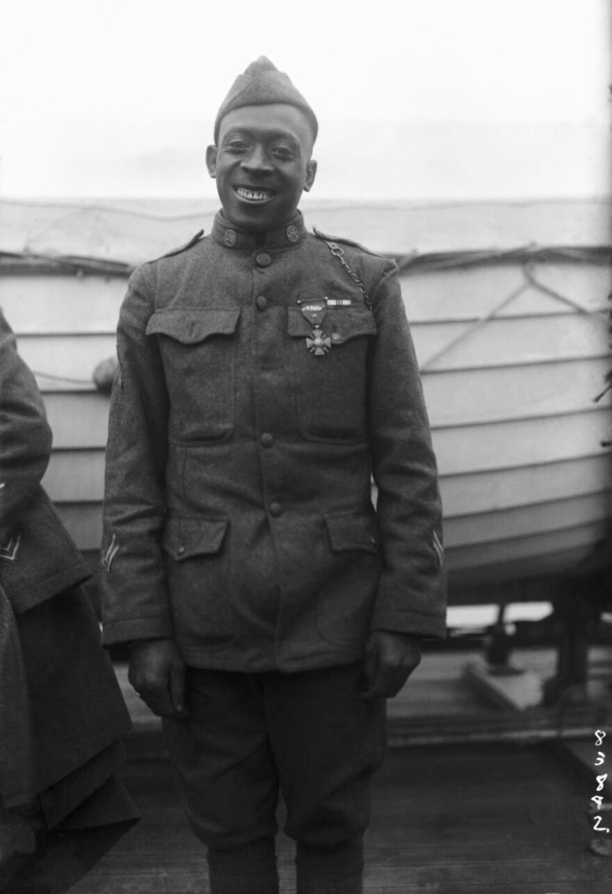 Sgt. Henry Johnson of the 369th Infantry Regiment was awarded the French Croix de Guerre for bravery while outnumbered during a battle with German soldiers, Feb. 12, 1919.
