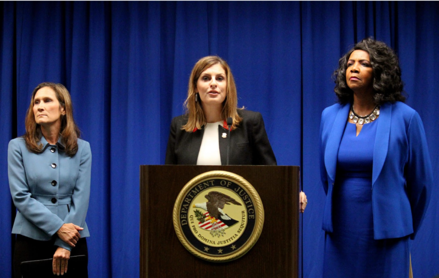 U.S. Attorney Erin Nealy Cox, center, alongside Homeland Security Investigations' Katherine Greer, left, and then-Dallas County District Attorney Faith Johnson in 2018. Nealy Cox is leading the Department of Justice's efforts to lock up abusers with guns.