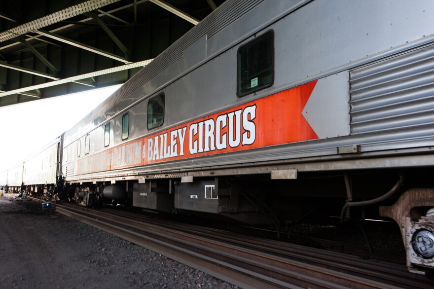 """About 120 performers and crew members from Ringling's """"Blue Unit"""" have lived year-round on the mile-long circus train. A separate """"Red Unit,"""" which simultaneously traveled the country, had its own train with a comparable number of full-time residents."""