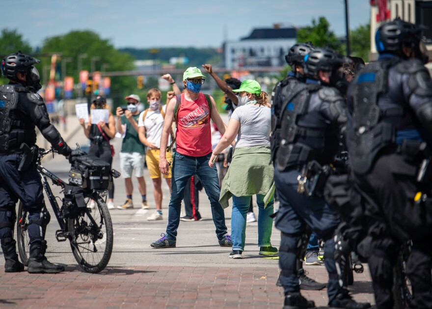 Kevin Truitt (green hat at left) at a recent demonstration in Columbus on May 30, 2020, just before the crowd was pepper sprayed by police.