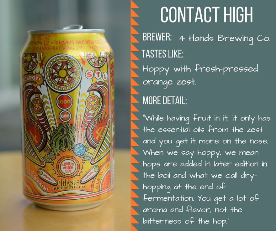"Taste-testing card for the ""Contact High"" beer from 4 Hands."