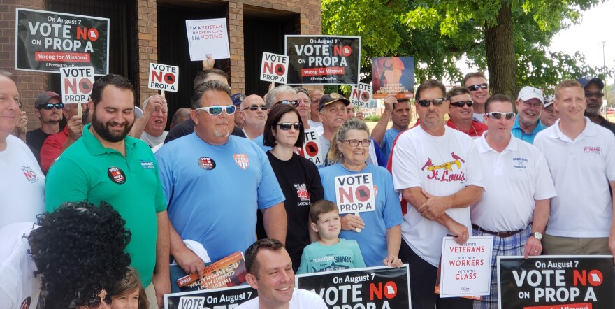 Union canvassers meet in Bridgeton on July 28, 2018 before heading out to campaign against Proposition A.