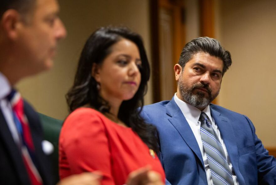 State Rep. Eddie Rodriguez takes part in a Mexican American Legislative Caucus and House Elections Committee press conference on Jan. 30.