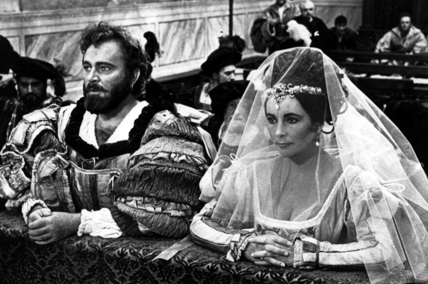 Richard Burton and Elizabeth Taylor starred as Petruchio and Kate in Zeffirelli's 1967 film <em>The Taming of the Shrew.</em>