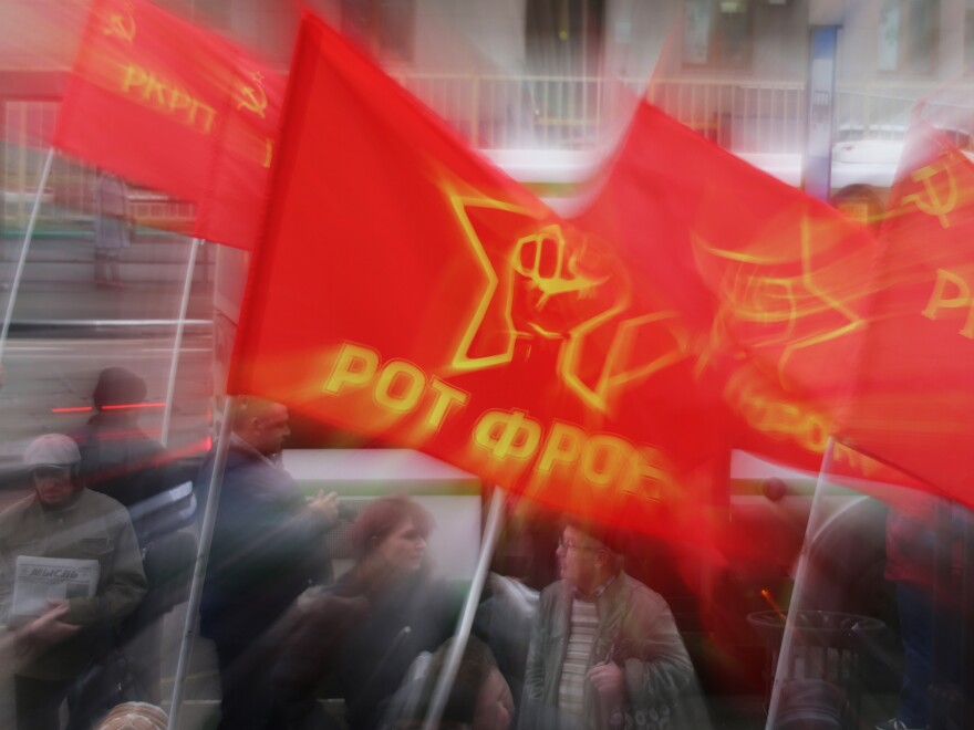 A left-wing protest in Russia on Nov. 8. Apparently, armchair socialists aren't sitting down after all, a new study says.