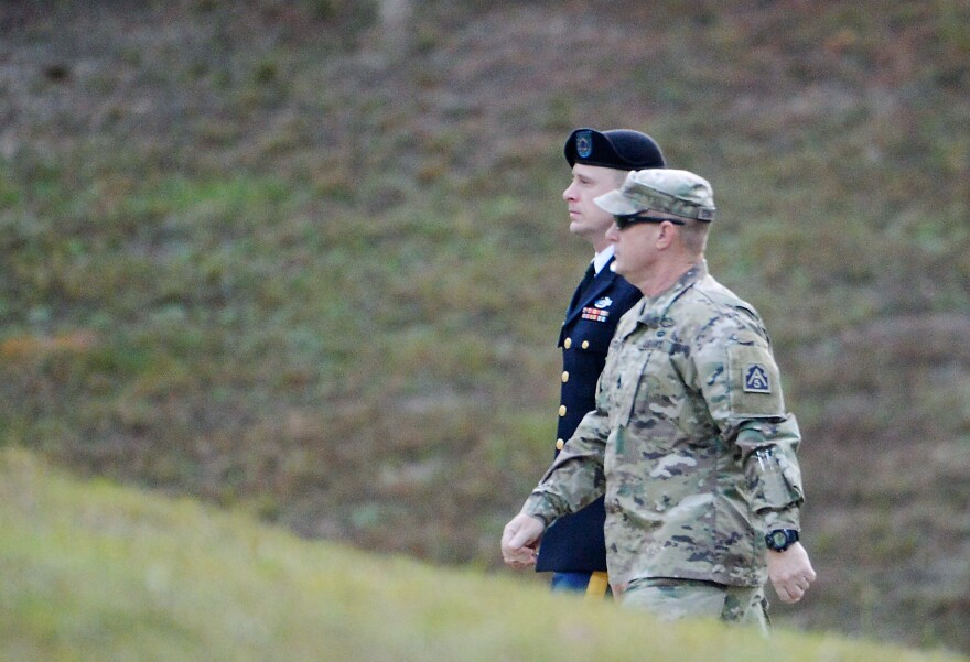 U.S. Army Sgt. Bowe Bergdahl is escorted into the Ft. Bragg military courthouse for the sentencing proceedings on Thursday in Ft. Bragg, N.C.