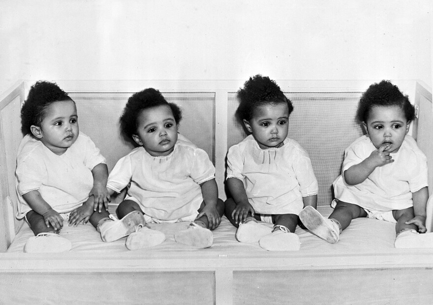 "The quadruplet daughters of Annie Mae and James ""Pete"" Fultz were born in 1946. The girls (left to right, Mary Ann, Mary Louise, Mary Alice, and Mary Catherine) appeared in ads marketing formula to black mothers."