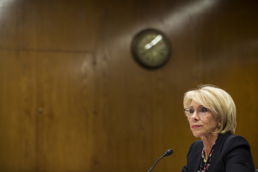 U.S. Secretary of Education Betsy DeVos testifies during a Senate Labor, Health and Human Services, Education and Related Agencies Subcommittee discussing proposed budget estimates and justification for FY2020 for the Education Department in Washington.