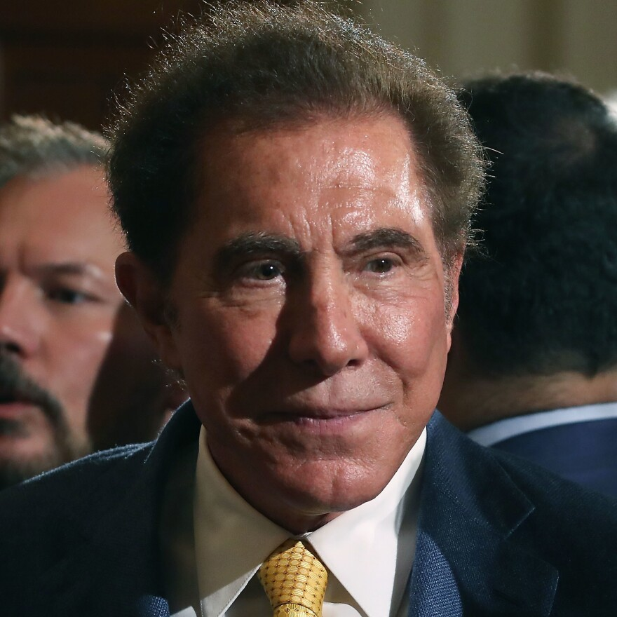 Steve Wynn, CEO of Wynn Resorts, attends a news conference held by President  Trump in the East Room of the White House in July. The president was touting a decision by Apple supplier Foxconn to invest $10 billion to build a factory in Wisconsin that produces LCD panels.