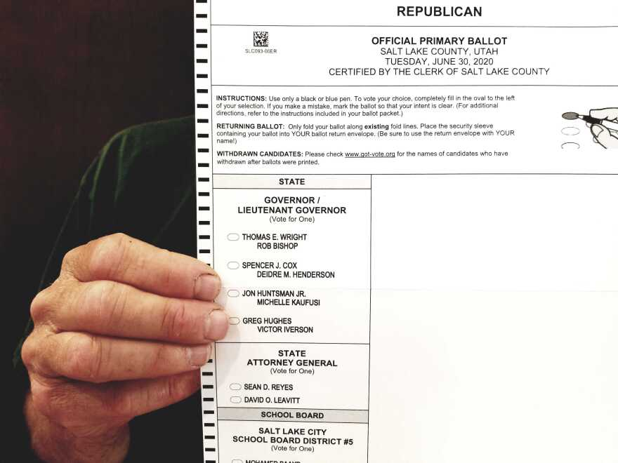 Photo of a hand holding up a ballot