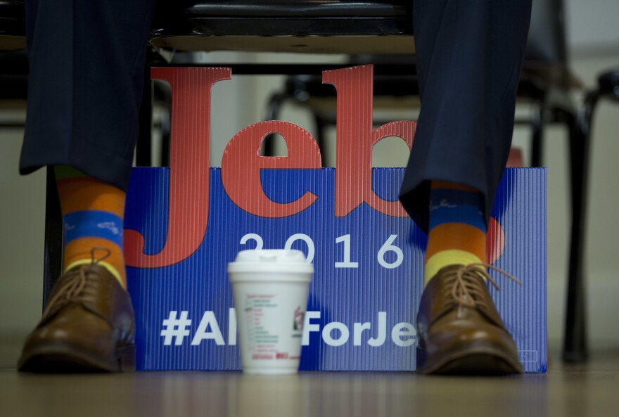 An attendee wears George H.W. Bush socks at a Jeb Bush campaign event at the E. Roger Montgomery American Legion Post 81 in Contoocook, N.H., on Dec. 19, 2015.