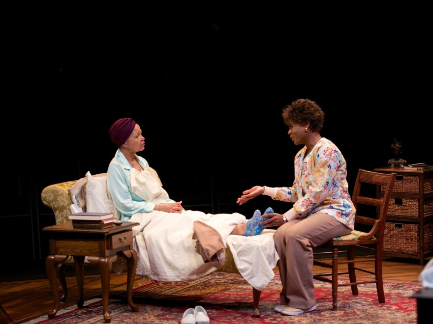 Lizan Mitchell (left) as the wealthy and crotchety Carolyn and N.L. Graham as Veronika, her nurse, in the play <em>Dead and Breathing</em>.